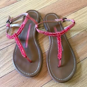 New Directions Pink Beaded Sandals